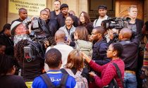 Sanef members interviewed outside the High Court in Johannesburg, following their Court Case against BLF.