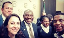 President Cyril Ramaphosa with SANEF Council members. From left: Katy Katopodis, Adriaan Basson, Cyril Ramaphosa, Mahlatse Mahlase and Sibusiso Ngwala.