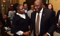 Sanef Chairperson Mahlatse Mahlase engaging with President Cyril Ramaphosa.